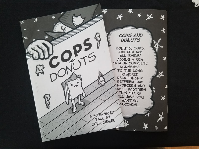 "Front and back covers of my comic ""Cops and Donuts"""